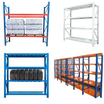 Popular blue metal Adjustable boltless 4-shelf warehouse shelving unit garage storage rack